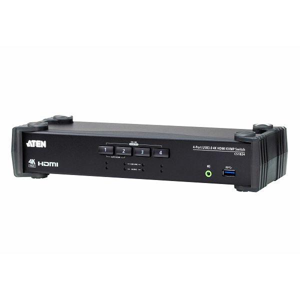 4-Port USB 3.0 4K HDMI KVMP™ Switch with Audio Mixer Mode