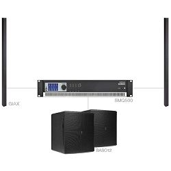 Audio sistem Audac Congress 3.3 (Ojačevalec SMQ500, Zvočniki GiAX, bass BASO12)