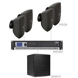 Audio sistem Audac Festa 6.5 (Ojačevalec SMQ350, Zvočniki ATEO6, bass BASO12)