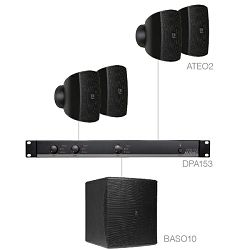 Audio sistem Audac Subli 2.5 (Ojačevalec DPA153, zvočniki ATEO2, bass BASO10)