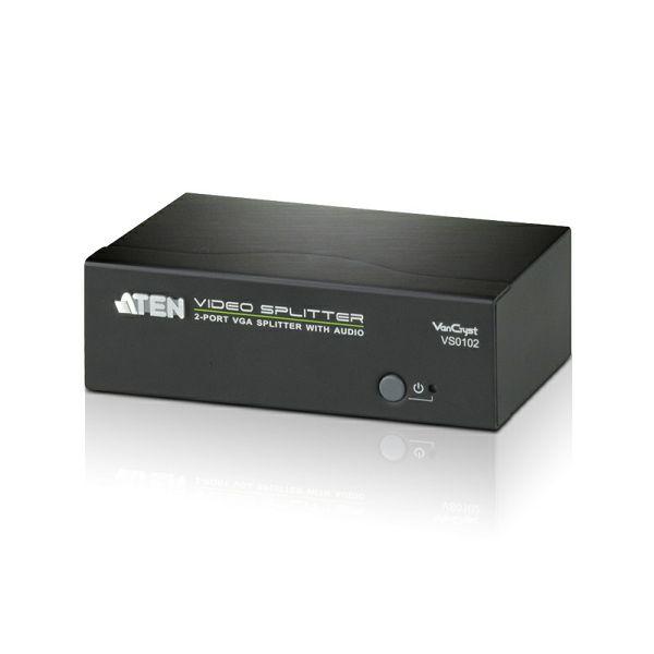 ATEN VS0102, 2PORT VGA SPLITTER with AUDIO W/EU ADP